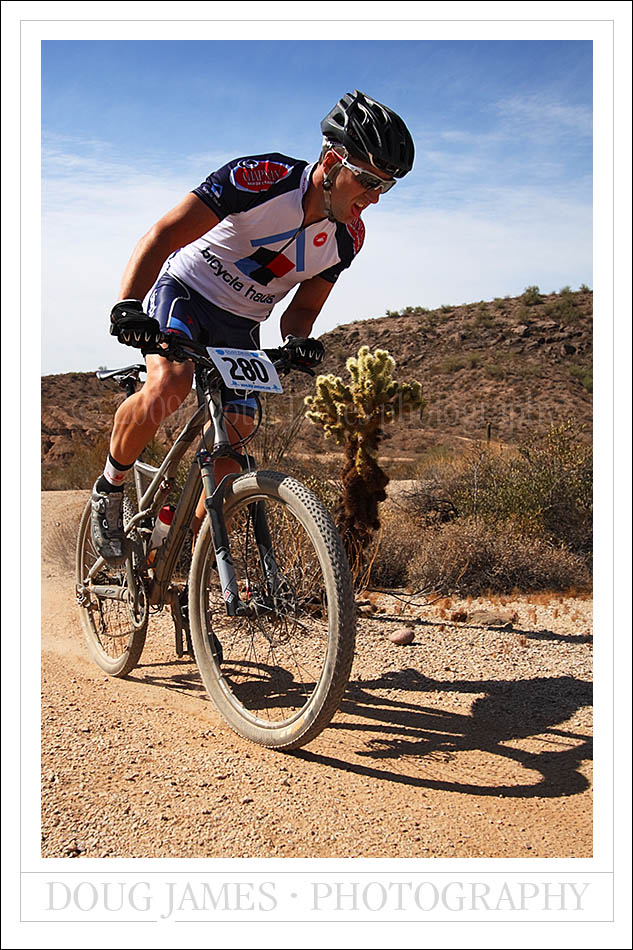 Hammering out the miles in the Dust Devil mountain bike race held at McDowell Mountain park