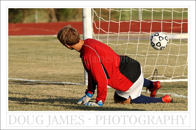 PHOENIX, AZ – OCTOBER 7, 2009: The goalkeeper for the PVCC Pumas watches a late match goal by the Pima Aztecs in Wednesdays heartbreaking loss.